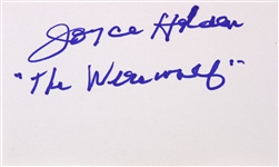 1956 Joyce Holden Werewolf Signed LE 3x5 Index Card (JSA)