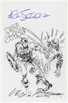 1941 circa Allen Bellman Captain America Battling Red Skull Signed 11x17 Sketch Print (JSA)