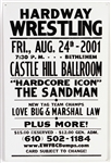 "2001 Hardway Wrestling 17"" x 26"" Broadside w/ ""Hardcore Icon"" The Sandman, Love Bug, Marshall Law & More"