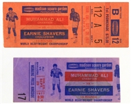 1977 (September 29) Muhammad Ali Earnie Shavers Madison Square Garden Heavyweight Title Fight Ticket & Ringside Press Stub - Lot of 2