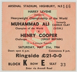 1966 (May 21) Muhmmad Ali Henry Cooper Arsenal Stadium Heavyweight Title Fight Ticket Stub