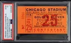 1958 Cassius Clay vs Alex Watts/Francis Turley Golden Gloves Tournament Ticket Stub (PSA VG 3 Slabbed)