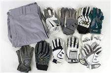 2011 Seattle Mariners Game Worn Batting Gloves & Pants - Lot of 10 w/ Justin Smoak, Miguel Olivo, Mike Carp & More (MEARS LOA)