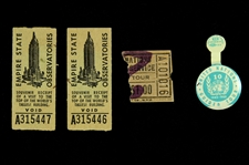 1945-1955 United Nations Guided Tour Fold Over Pin w/ Empire State Observatories Souvenir Receipts