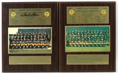 "1966-67 Green Bay Packers Super Bowl I & II Champions 13"" x 16"" Team Photo Displays - Lot of 2 w/ 1 Signed by Bart Starr (JSA)"