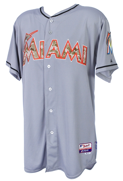 2015 Aaron Crow Miami Marlins Memorial Day Alternate Jersey (MEARS LOA)