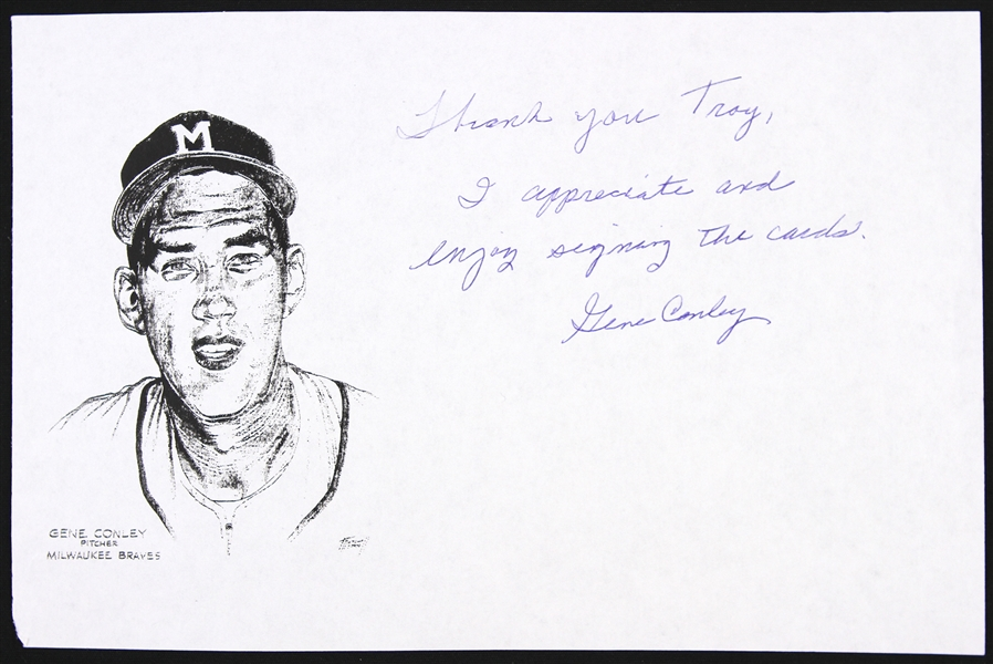 "1954-1958 Gene Conley Milwaukee Braves Signed 5 1/2""x 8 1/2"" Paper (JSA)"