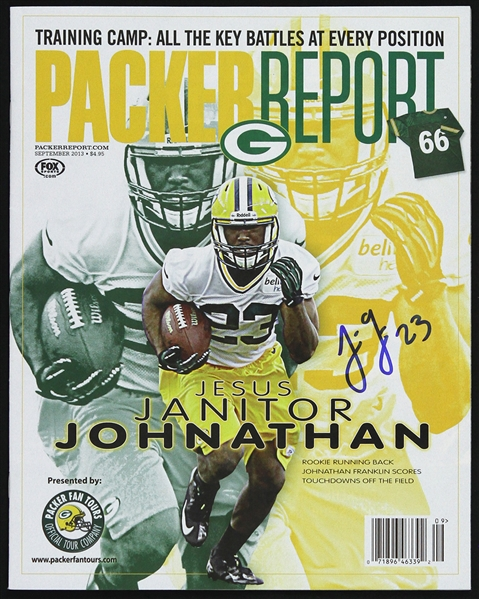 2013 Johnathan Franklin Green Bay Packers Signed Packer Report (JSA)