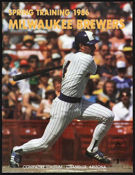 1986 Paul Molitor Milwaukee Brewers Spring Training Magazine