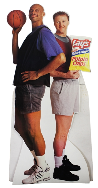 "1992 Kareem Abdul Jabbar Larry Bird Lays Potato Chips 40"" x 84"" Stand Up Advertising Display"
