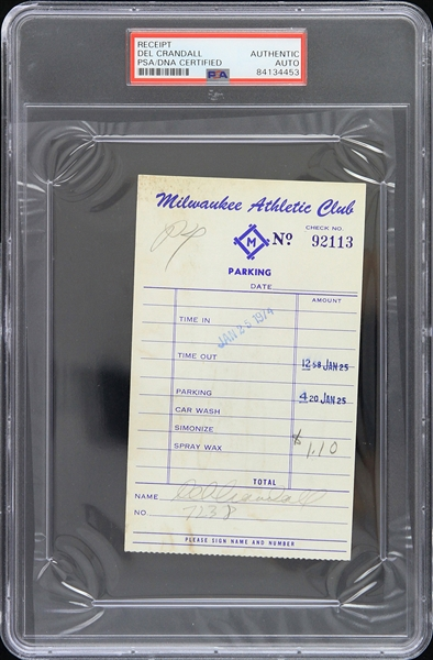 1974 Del Crandall Milwaukee Braves Signed Milwaukee Athletic Club Receipt (PSA/DNA Slabbed)