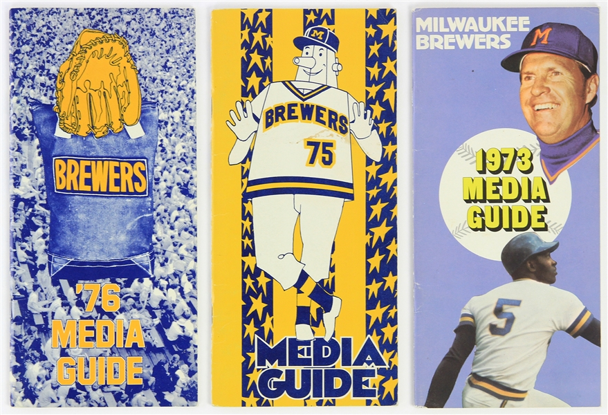 1973-76 Milwaukee Brewers Media Guides - Lot of 3