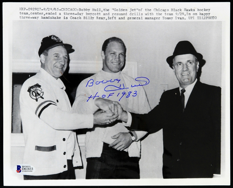 "1965 Bobby Hull Chicago Blackhawks Signed 8"" x 10"" Wire Photo (Beckett Authentication)"