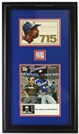 "1974 Hank Aaron Milwaukee Braves Scorebook & 715th Home Run Ticket Stub within 17""x 29"" Frame"