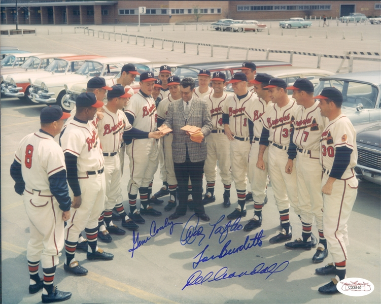 "1958 Del Crandall Lou Burdette Andy Pafko Gene Conley Milwaukee Braves Signed 8"" x 10"" Photo (*JSA*)"