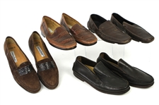 1980s-1990s William Shatner Worn Leather Loafer Collection - Lot of 4 Pairs w/ Flexa, Hugo Boss, Mezlan & Lorenzo Banfi (Shatner LOA/MEARS LOA)