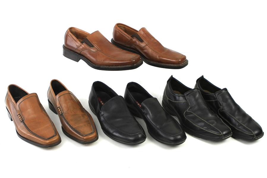 1990s-2000s William Shatner Worn Leather Loafer Collection - Lot of 4 Pairs w/ Johnston & Murphy, Prada, Donald J. Pilner & Cole Haan (Shatner LOA/MEARS LOA)