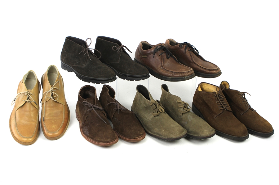 1990s-2000s William Shatner Worn Suede/Leather Ankle Boot Collection - Lot of 6 Pairs w/ Alden, Alberto Guardiani, Bruno Magli, Mephisto, Ferragamo & John Varvatos (Shatner LOA/MEARS LOA)