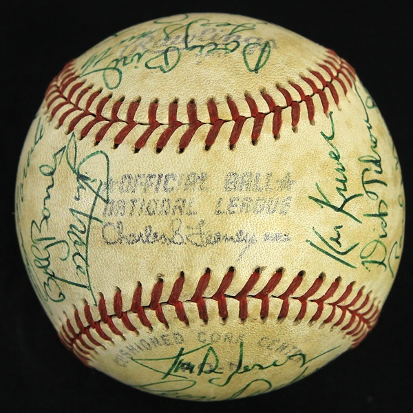 1981 Chicago Cubs Team Signed ONL Feeney Baseball w/ 26 Signatures Including Lee Smuth, Leon Durham, Bobby Bonds & More (JSA)