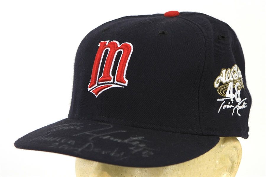 2002 Torii Hunter Minnesota Twins Signed & Inscirbed All Star Game Home Run Derby Cap (MEARS LOA/JSA)
