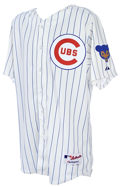 2014 (July 13) Gary Jones Chicago Cubs Game Worn 1969 Throwback Home Jersey (MEARS LOA/MLB Hologram)