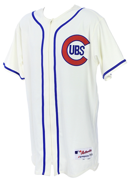 2014 (May 18) Gary Jones Chicago Cubs Game Worn 1937 Throwback Home Jersey (MEARS LOA/MLB Hologram)