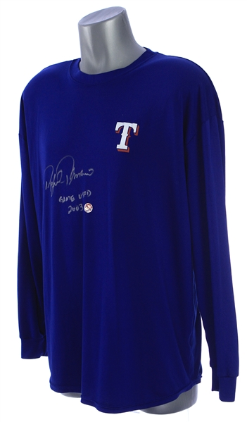 2003 Rafael Palmeiro Texas Rangers Signed & Inscribed Game Worn Undershirt (MEARS LOA/JSA)