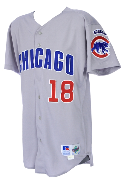 1998 Jose Hernandez Chicago Cubs Game Worn Road Jersey (MEARS LOA)