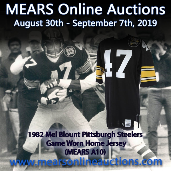 1982 Mel Blount Pittsburgh Steelers Game Worn Home Jersey (MEARS A10)