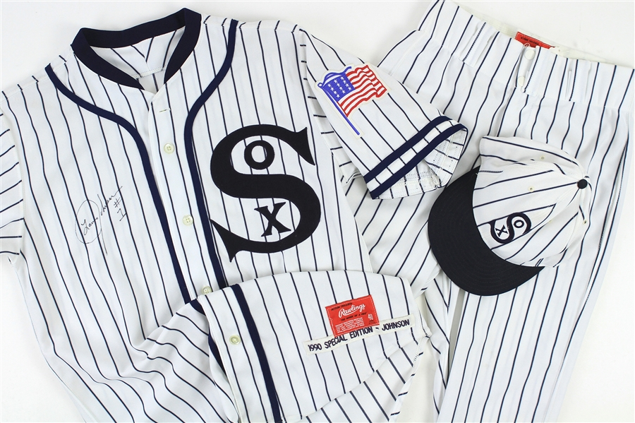 1990 (July 11) Lance Johnson Chicago White Sox Signed Game Worn 1917 Throwback Home Uniform (MEARS LOA/JSA)