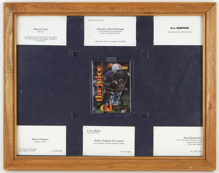 "1995 OJ Simpson Buffalo Bills 11"" x 14"" Framed Display w/ Dream Team Lawyer Business Cards & Signed The Juice Trading Card (JSA)"