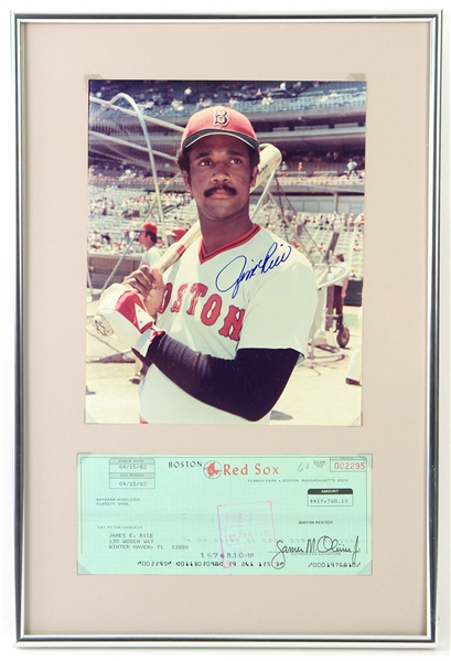 "1982 Jim Rice Boston Red Sox 12"" x 18"" Framed Display w/ Processed Payroll Check & Signed 8"" x 10"" Photo (JSA)"