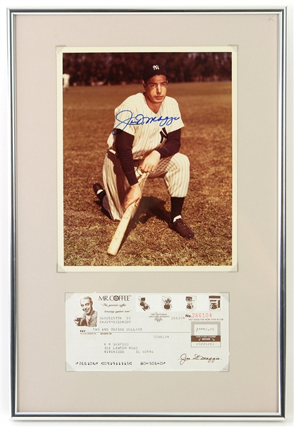 "1983 Joe Dimaggio New York Yankees 12"" x 18"" Framed Display w/ Mr. Coffee Refund Check & Signed 8"" x 10"" Photo (JSA)"