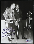 "1965 Bobby Hull Chicago Blackhawks Signed 4.5"" x 6"" Photo w/ Gale Sayers (Beckett Authentication)"
