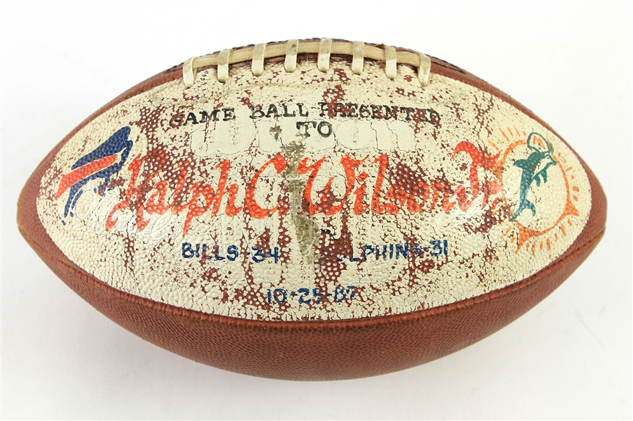 1987 (October 25) Ralph C Wilson Buffalo Bills Painted Game Ball Presentation Football (MEARS LOA)