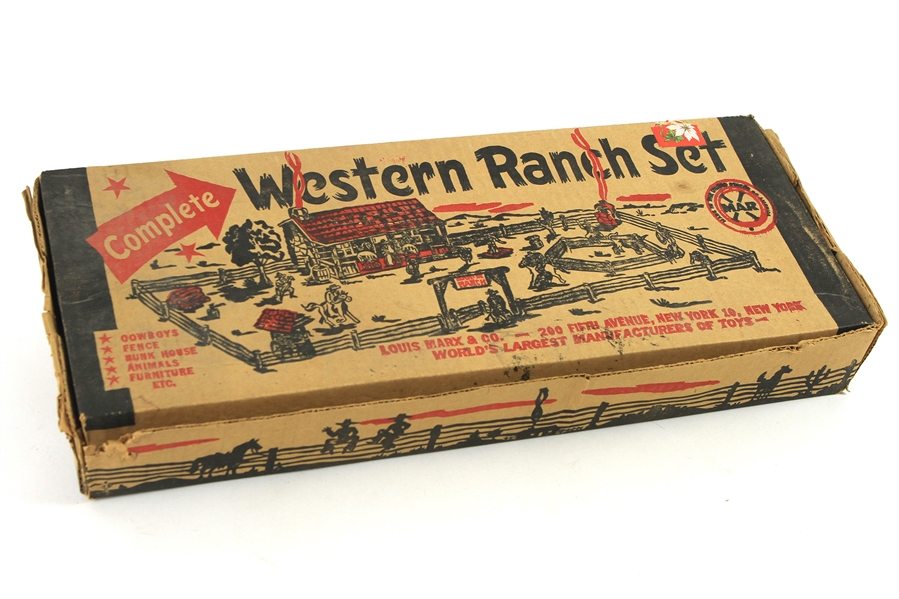 1950s Louis Marx Western Ranch Set Toy Box w/ 50+ Pieces