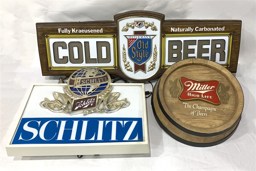 1970s Heilemans Old Style, Schlitz, & Miller Brewing Company Bar Signs (Lot of 3)