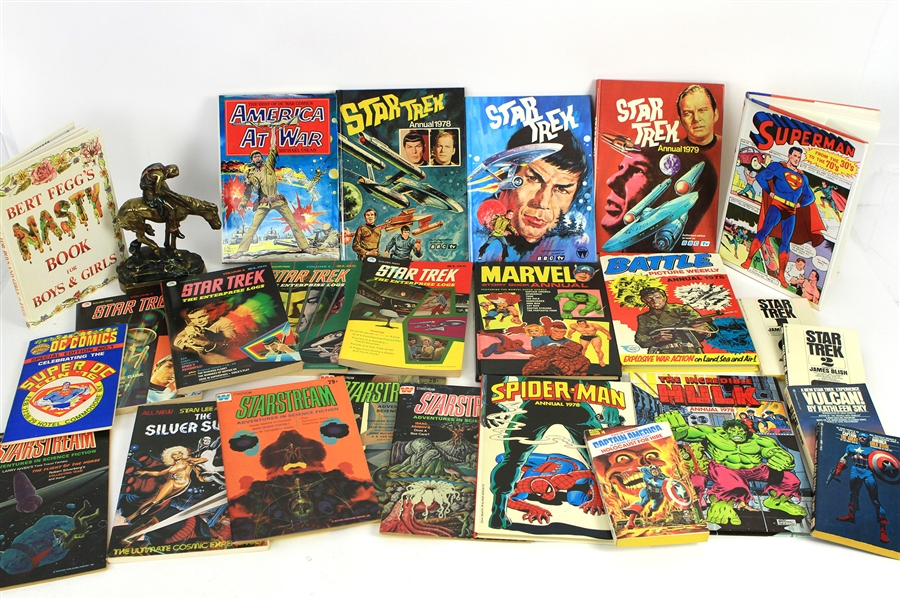 1960s-80s Comic Book Sci Fi Paperback & Hardcover Book Collection - Lot of 75+ w/ Star Trek, Stan Lee Presents & More