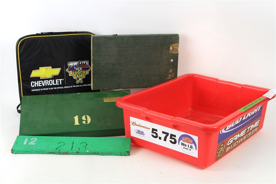 1960s-2000s Stadium Seat Section & Artifact Collection - Lot of 5 w/ Wrigley Field Bleachers, Notre Dame Field Seat & More (MEARS LOA)