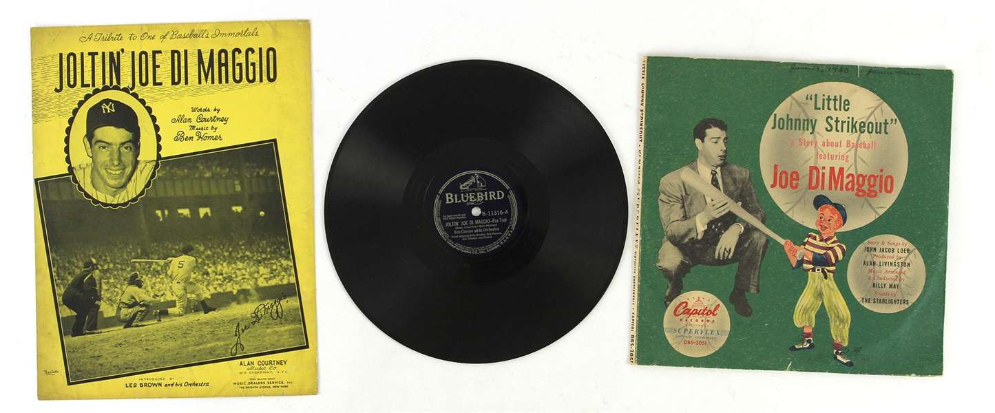 1940s Joe DiMaggio New York Yankees Record & Sheet Music Collection - Lot of 3
