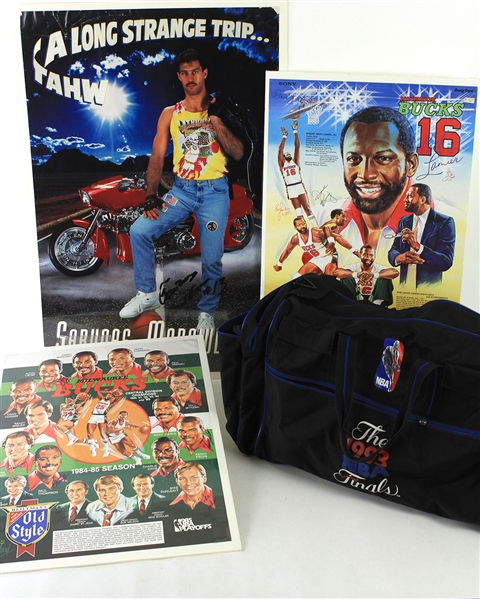 1970s-90s Basketball Memorabilia Collection - Lot of 12 w/ Alcindor Rookie Program, Lithuanian Olympic Trunks, Signed Items & More