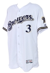 2017 (April 3) Orlando Arcia Milwaukee Brewers Signed & Inscribed Game Worn Opening Day Home Jersey (MEARS A10/MLB Hologram/JSA)