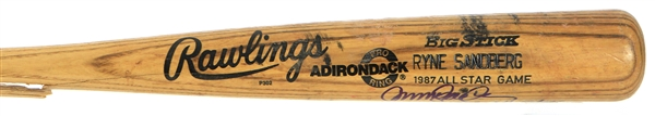 1987 Ryne Sandberg Chicago Cubs Signed & Inscribed Rawlings Adirondack Professional Model All Star Game Bat (MEARS A8.5/JSA)
