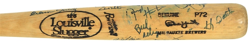 1991 Robin Yount Milwaukee Brewers Team Signed Louisville Slugger Professional Model Game Used Bat w/ 22 Signatures Including Yount, Paul Molitor, Bud Selig & More (MEARS A8/JSA)