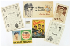 1910s-60s Baseball Memorabilia Collection - Lot of 7 w/ Ty Cobb, Roger Maris, Pee Wee Reese Advertising & More