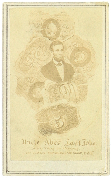 "1861-65 Abraham Lincoln 16th President of the United States 2.5"" x 4"" ""Uncle Abes Last Joke"" CDV Photo Card"