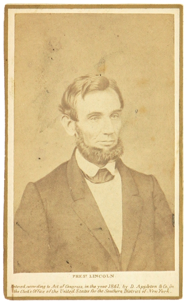 "1861 Abraham Lincoln 16th President of the United States 2.5"" x 4"" CDV Photo Card"