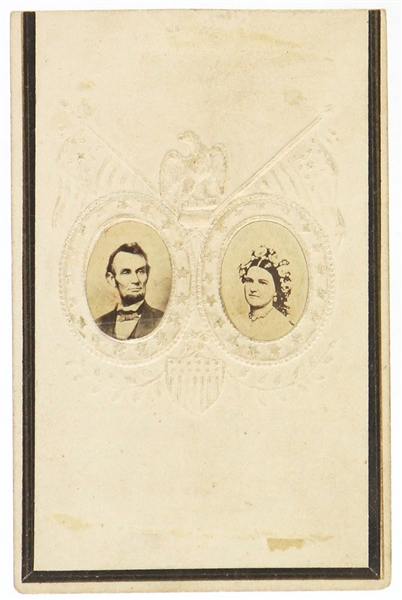 "1861-65 Abraham Lincoln 16th President of the United States 2.5"" x 3.75"" CDV Photo Card w/ First Lady Mary Todd"