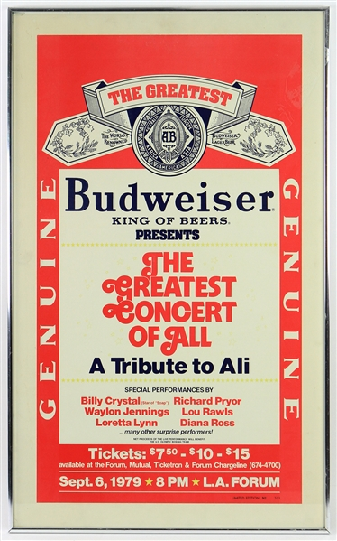 "1979 Muhammad Ali ""The Greatest Concert of All"" Tribute Concert 22"" x 36"" Framed Budweiser Broadside w/ Richard Pryor, Billy Joel, Diana Ross & More"