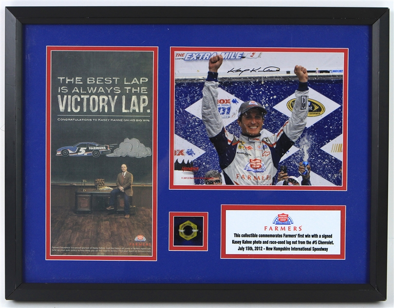 "2012 Kasey Kahne NASCAR Driver 17"" x 22"" Framed Display w/ Race Used Lugnut, Signed Photo & More (JSA)"